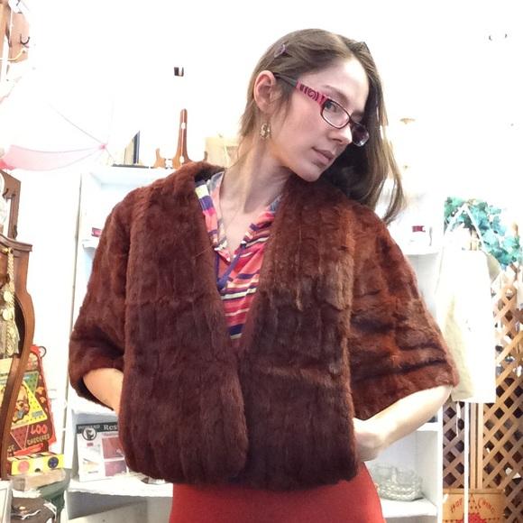Vintage Jackets & Blazers - Vintage Inga Umland Red Fur Stole